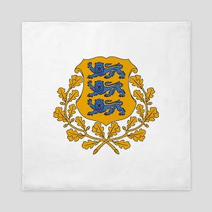 Estonia Coat Of Arms Queen Duvet