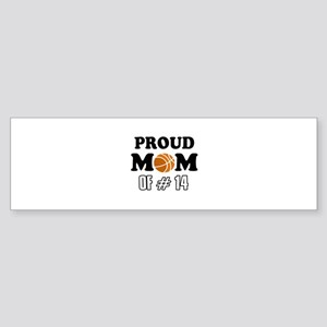 Cool Basketball Mom of number 14 Sticker (Bumper)
