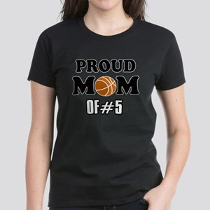 Cool Basketball Mom of number 5 Women's Dark T-Shi
