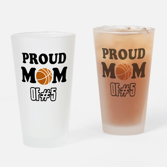 Cool Basketball Mom of number 5 Drinking Glass