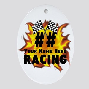 Flaming Racing Oval Ornament