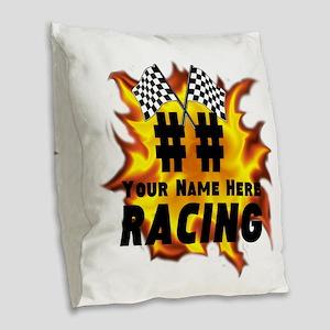Flaming Racing Burlap Throw Pillow
