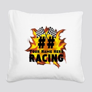 Flaming Racing Square Canvas Pillow