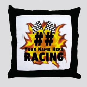 Flaming Racing Throw Pillow