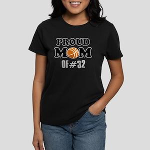 Cool Basketball Mom of number 32 Women's Dark T-Sh