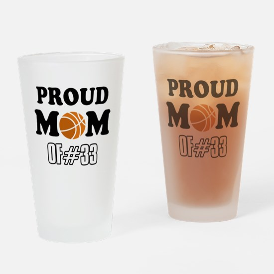 Cool Basketball Mom of number 33 Drinking Glass