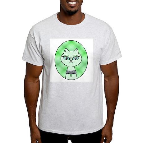 Green Kitty Ash Grey T-Shirt