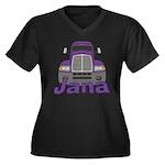 Trucker Jana Women's Plus Size V-Neck Dark T-Shirt
