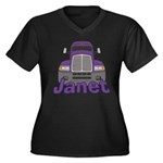 Trucker Janet Women's Plus Size V-Neck Dark T-Shir