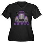 Trucker Janice Women's Plus Size V-Neck Dark T-Shi