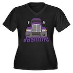Trucker Jasmine Women's Plus Size V-Neck Dark T-Sh