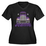 Trucker Jeanne Women's Plus Size V-Neck Dark T-Shi
