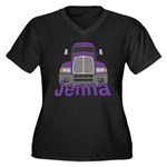 Trucker Jenna Women's Plus Size V-Neck Dark T-Shir