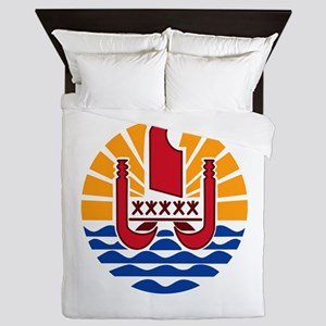 French Polynesia Coat Of Arms Queen Duvet