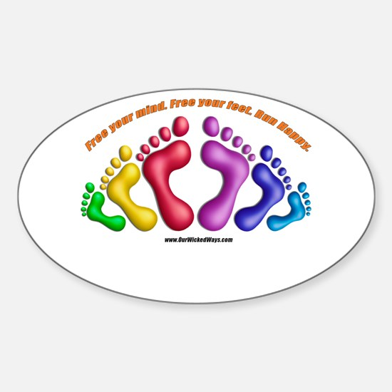 Barefoot Running Sticker (Oval)