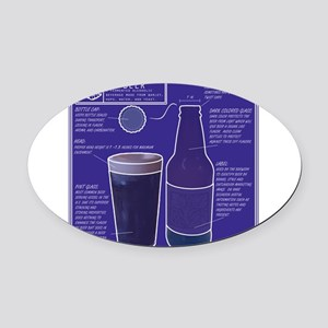 BeerBluePrint.png Oval Car Magnet