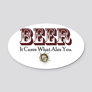 BeerCure.png Oval Car Magnet