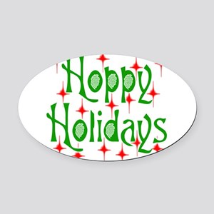 HoppyHolidays.png Oval Car Magnet