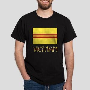 S. Vietnam Flag & Name Black Dark T-Shirt