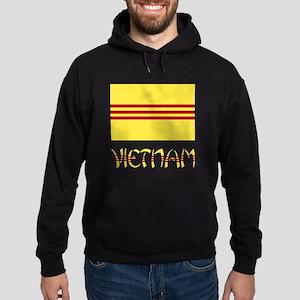 S. Vietnam Flag & Name Black Hoodie (dark)
