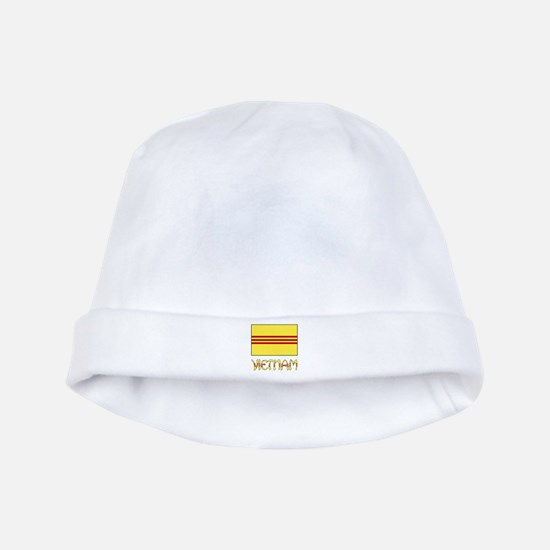 S. Vietnam Flag & Name Black baby hat