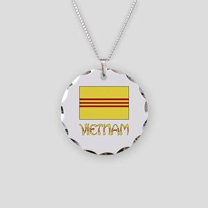 S. Vietnam Flag & Name Black Necklace Circle Charm