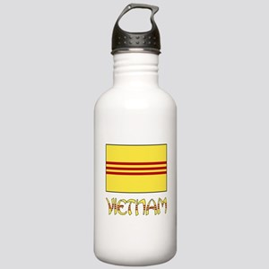 S. Vietnam Flag & Name Black Stainless Water Bottl