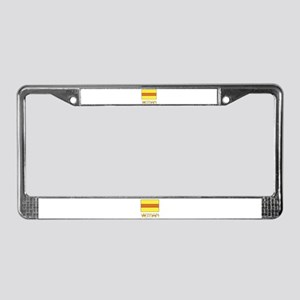 S. Vietnam Flag & Name Black License Plate Frame