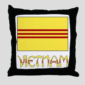 S. Vietnam Flag & Name Black Throw Pillow