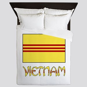 S. Vietnam Flag & Name Black Queen Duvet