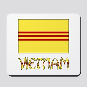 S. Vietnam Flag & Name Black Mousepad