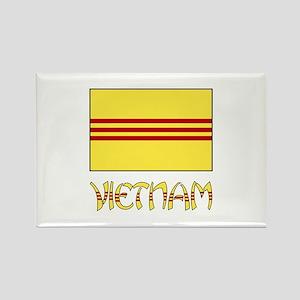 S. Vietnam Flag & Name Black Rectangle Magnet