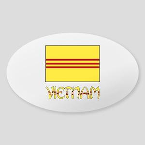 S. Vietnam Flag & Name Black Sticker (Oval)
