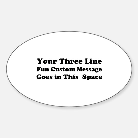 Customize Three Line Text Sticker (Oval)