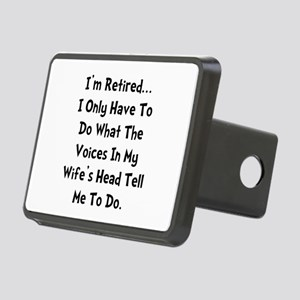 Retired Wife Voices Black Rectangular Hitch Cover