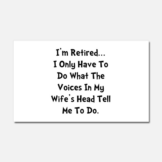 Retired Wife Voices Black Car Magnet 20 x 12