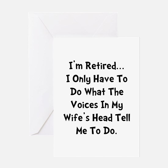 Retired Wife Voices Black Greeting Card