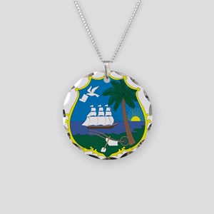 Liberia Coat Of Arms Necklace Circle Charm