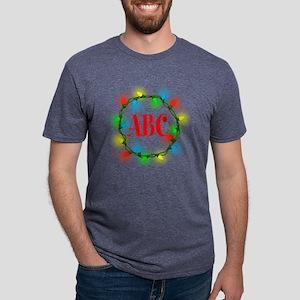 Initial Christmas Lights Mens Tri-blend T-Shirt