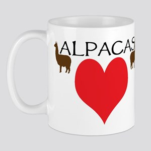 two alpacas heart color Mugs