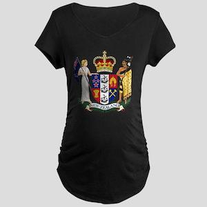 New Zealand Coat Of Arms Maternity Dark T-Shirt