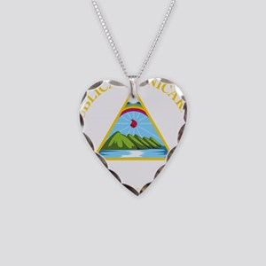 Nicaragua Coat Of Arms Necklace Heart Charm