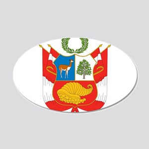 Peru Coat Of Arms 20x12 Oval Wall Decal
