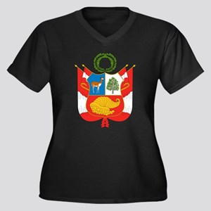 Peru Coat Of Arms Women's Plus Size V-Neck Dark T-