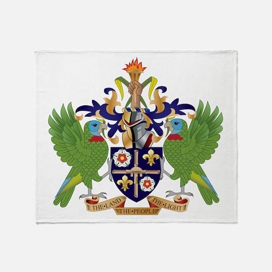 Saint Lucia Coat Of Arms Throw Blanket