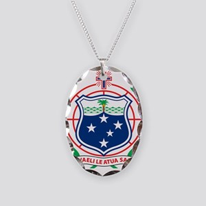 Samoa Coat Of Arms Necklace Oval Charm