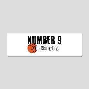 Basketball Parent Of Number 9 Car Magnet 10 x 3