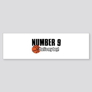Basketball Parent Of Number 9 Sticker (Bumper)