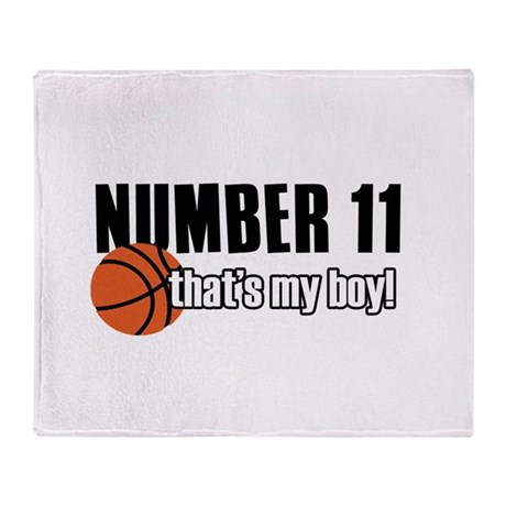 Basketball Parent Of Number 11 Throw Blanket