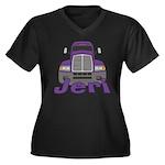 Trucker Jeri Women's Plus Size V-Neck Dark T-Shirt
